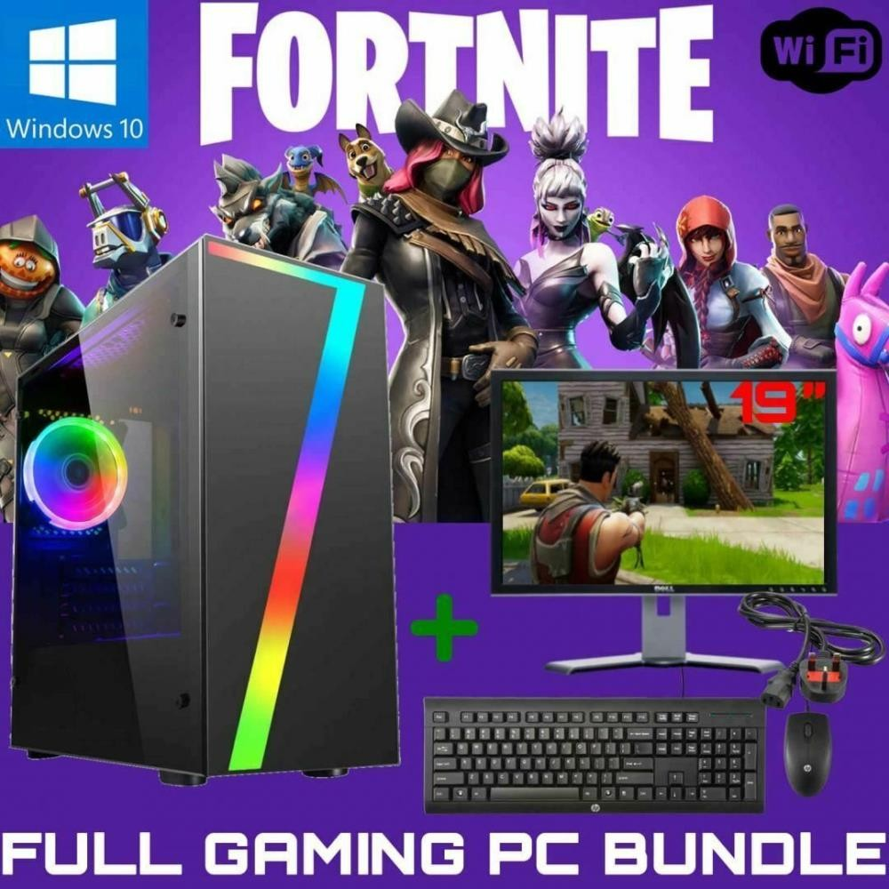 FAST GAMING PC FULL COMPUTER SET INTEL PENTIUM G 4GB 60GB SSD 500GB GT710