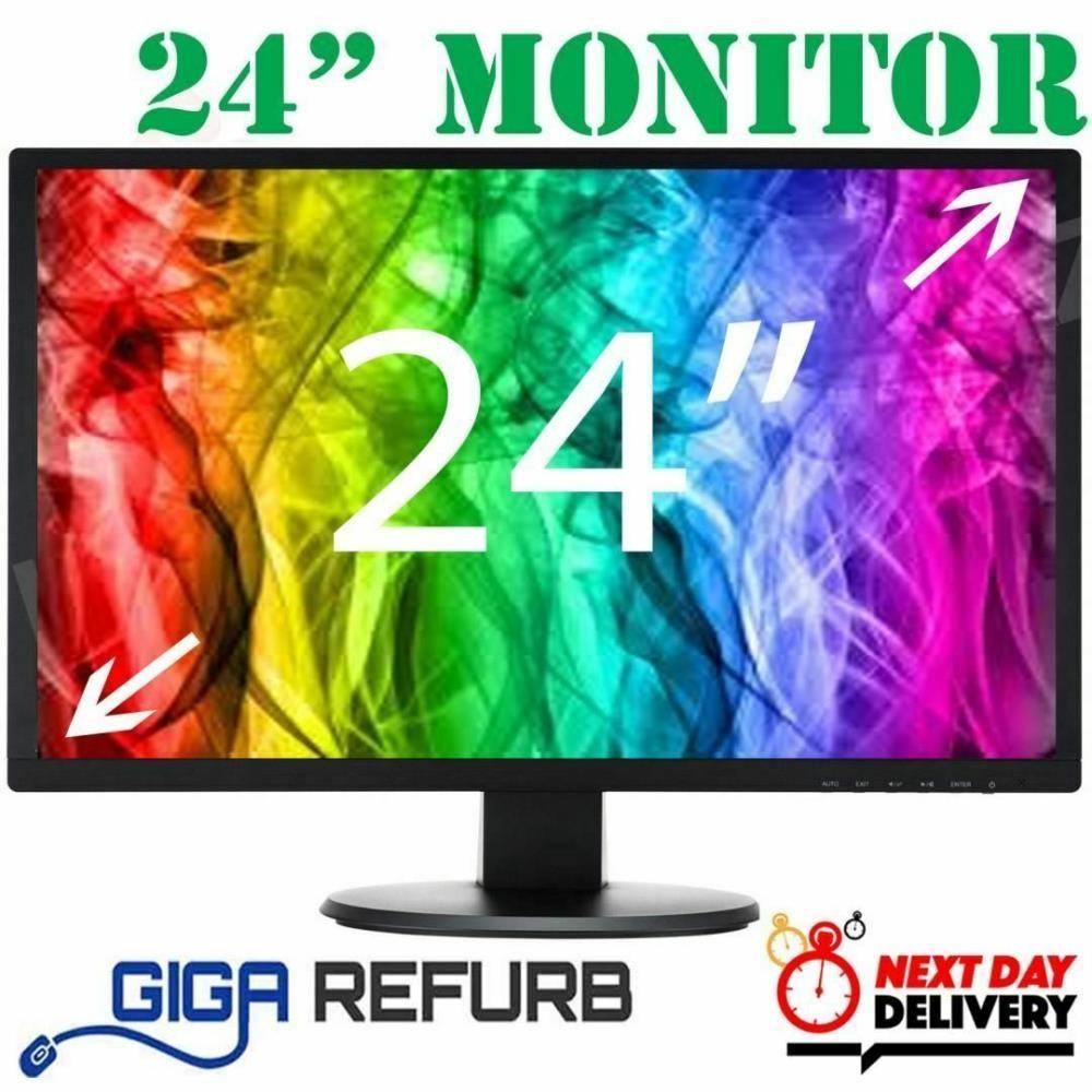 """Cheap Dell 24"""" LCD TFT PC Movie Gaming CCTV VGA Monitor"""