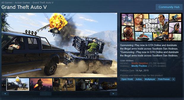 GTAV Steam Ratings