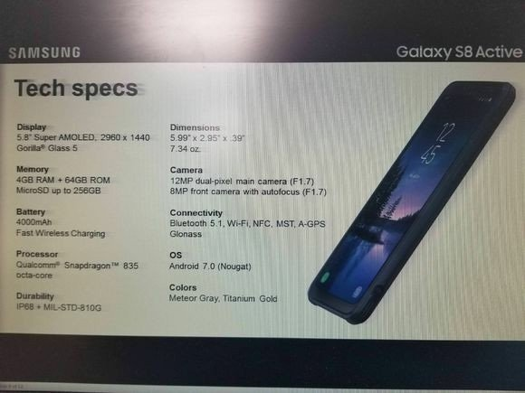 Samsung Galaxy S8 Active Leaked Slide