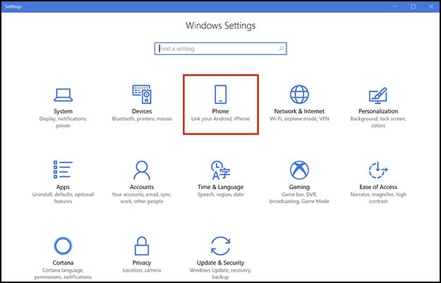 Windows Settings Phone