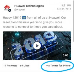 Huawei Publicly Reprimands Employees Responsible For New Year's Tweet From An iPhone