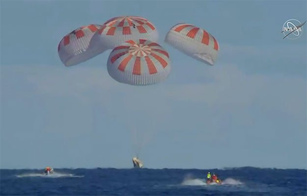 crew dragon nasa splashdown