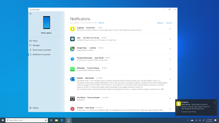 windows 10 android notifiations