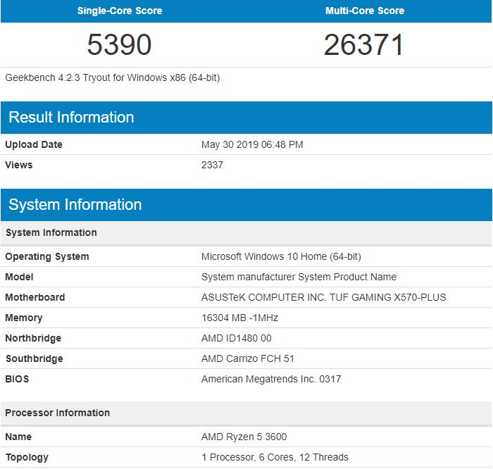 AMD Ryzen 5 3600 Geekbench