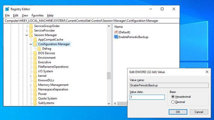 Windows 10 Registry Automatic Backup