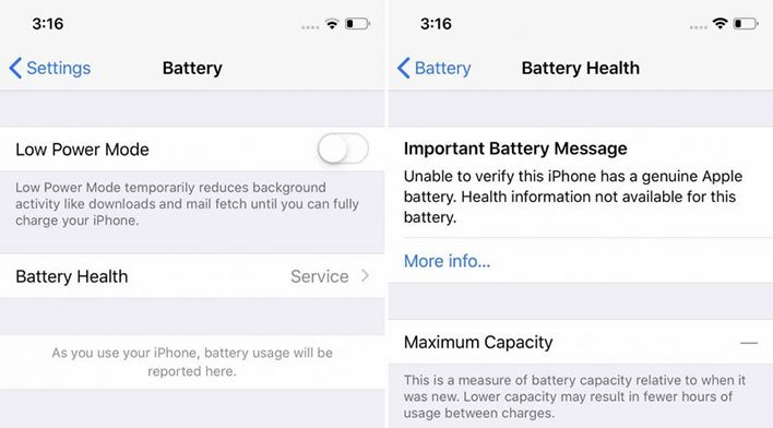 iPhone Battery Health Message