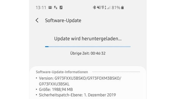 Samsung Galaxy S10 Android 10 Update