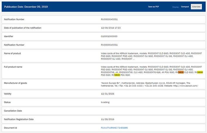 ASRock Radeon RX 5600 EEC Listing