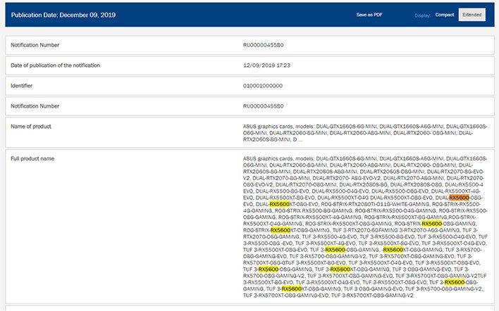 ASUS Radeon RX 5600 EEC Listings