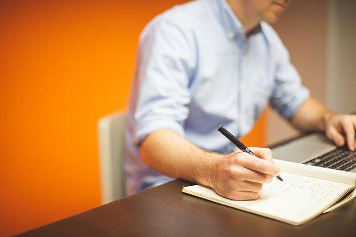 laptop writing office