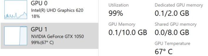Windows 10 Task Manager GPU Temp