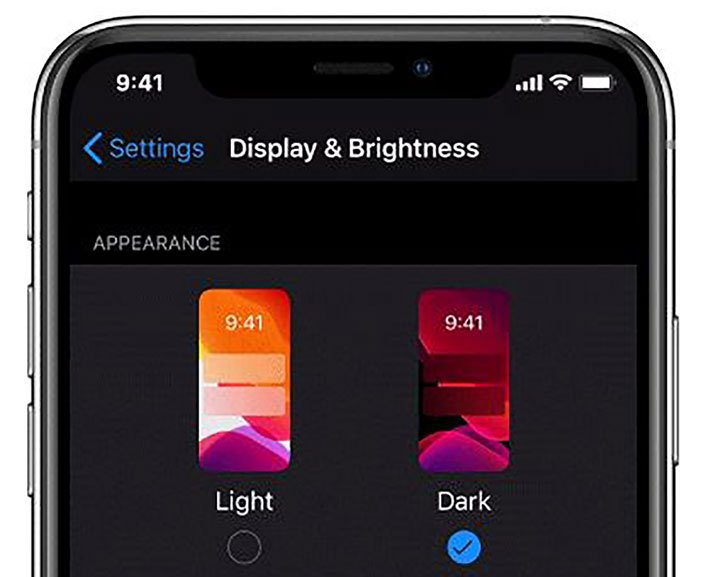 iphone dark mode settings