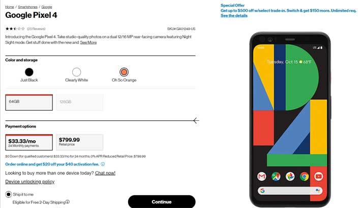 pixel 4 verizon page